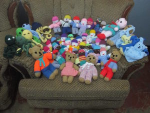 Generous donations to MAMA of knitted toys