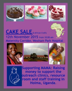 A poster for one of MAMA's popular cake sales