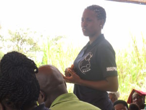 Josephine delivers a health education talk