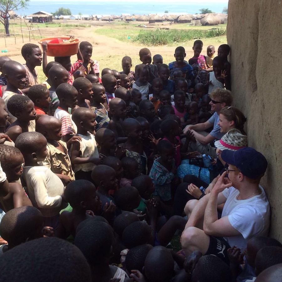 Volunteers meet inquisitive children in Runga - Volunteer with MAMA in Uganda