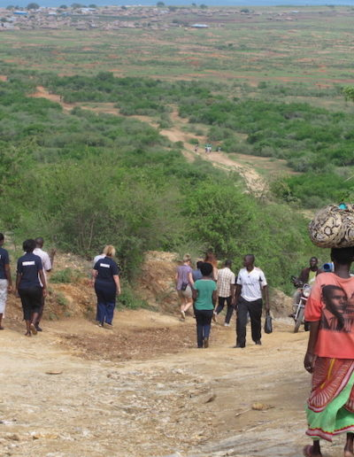Midwives descending down the main access route to Runga